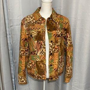 Multi animal print studded denim jacket